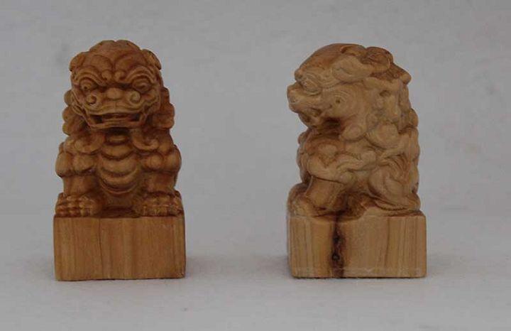 根深艺园木雕 剑川木雕 座狮 白族特色工艺品 - 云品